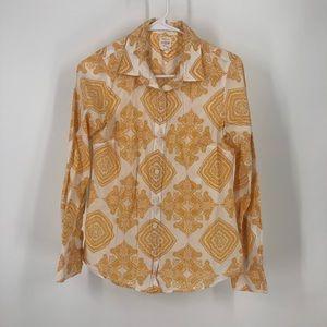 J.Crew yellow white medallion button shirts xS